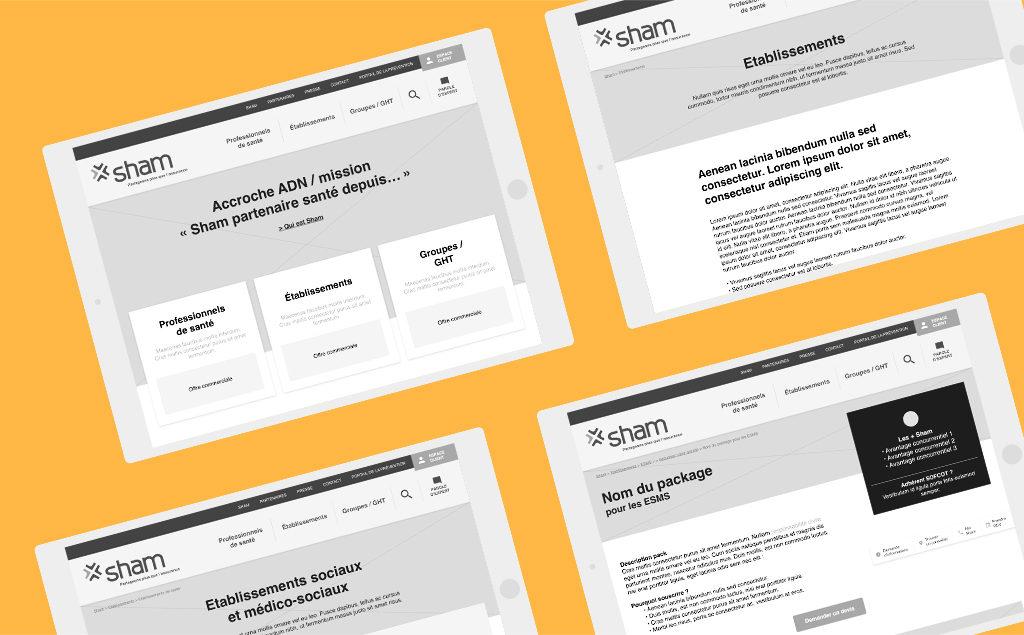Wireframes réalisé pour le site web de Sham