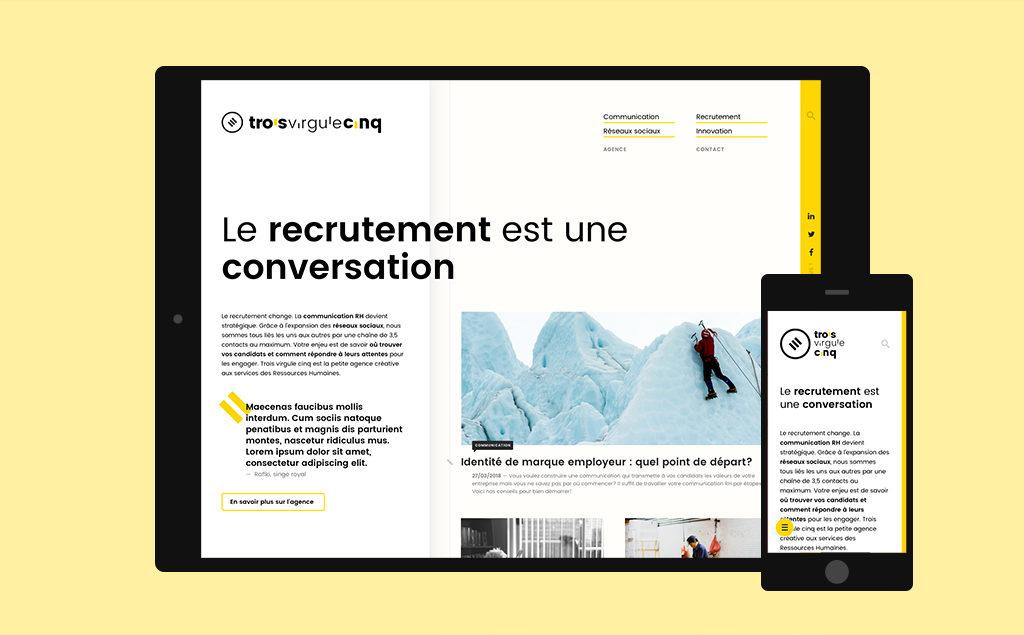 Site WordPress réalisé pour Trois Virgule Cinq